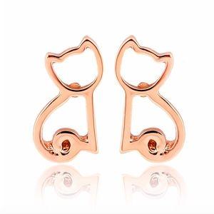 Jewelry - NWOT Rose Gold Tone Small Cute Cat Stud Earrings
